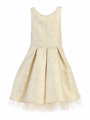 Ivory Vintage Pleated Jacquard Dress