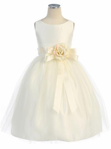 Ivory Vintage Satin Tulle Dress