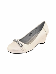 Ivory Wedge Shoe with Rhinestones