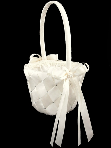Ivory Woven Fabric w/Embroidered Rhinestone Flower Girl Basket