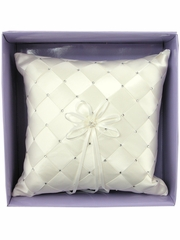 Ivory Woven Fabric w/Embroidered Rhinestone Ring Bearer Pillow
