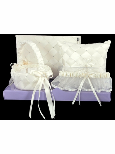 Ivory Woven Fabric w/Embroidered Rhinestone Wedding Collection Set