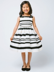 Ivory Woven Striped Organza w/ Shoulder Bows Dress