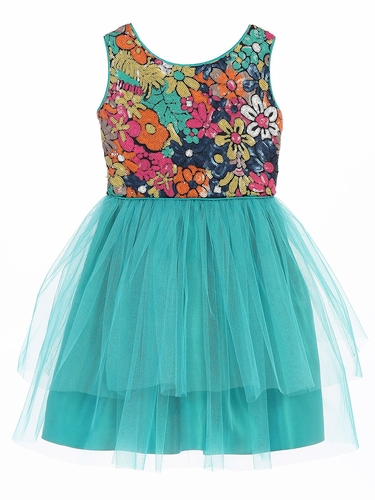 Jade Flower Sequin Top w/ 2 Tier Tulle Dress