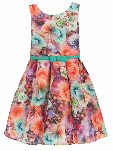 Jade Mixed Modern Flower Dress w/ Belt