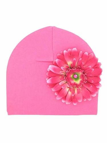 Jamie Rae Candy Pink Cotton Hat w/ Candy Pink Daisy