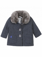 Jean Bourget 3 Button Gris Coat w/ Fur Collar