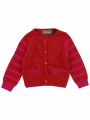 Jean Bourget Dark Red Tricot Cardigan