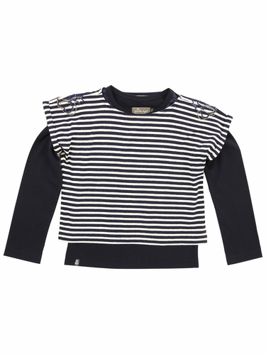 Jean Bourget Navy / Ivory Striped Top