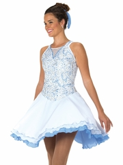 CLEARANCE - Jerry's 128 White/Light Blue Twirl of Pearl Dance Dress