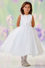 Joan Calabrese 118312 White Jewel Neckline A- Line Tulle Dress w/ Pleated Waistband
