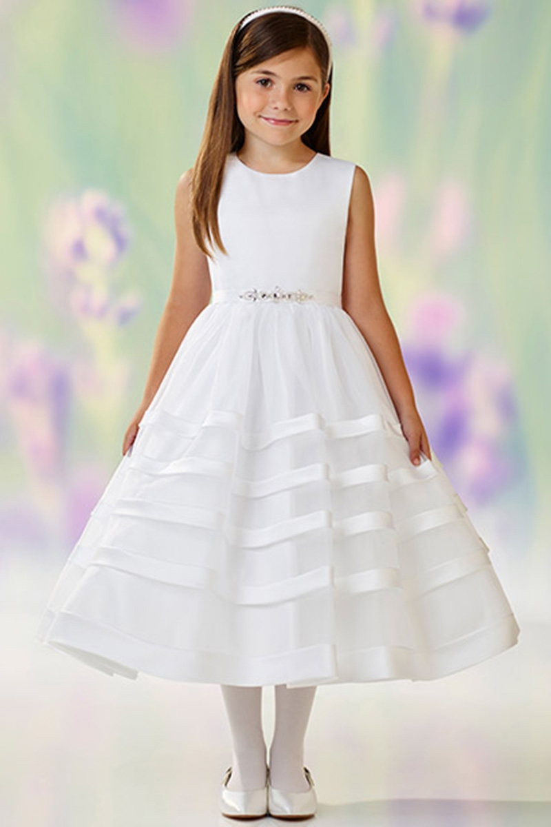 c9016a77149 ... First Communion Dresses   Joan Calabrese 118334 White Satin   Organza  Stripe Skirt Dress w  Jeweled Belt. Click to Enlarge