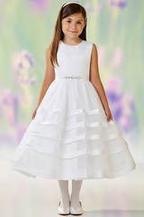 Joan Calabrese 118334 White Satin & Organza Stripe Skirt Dress w/ Jeweled Belt