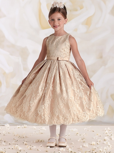 Joan Calabrese Ivory/Petal Satin & Lace Dress w/ Bow