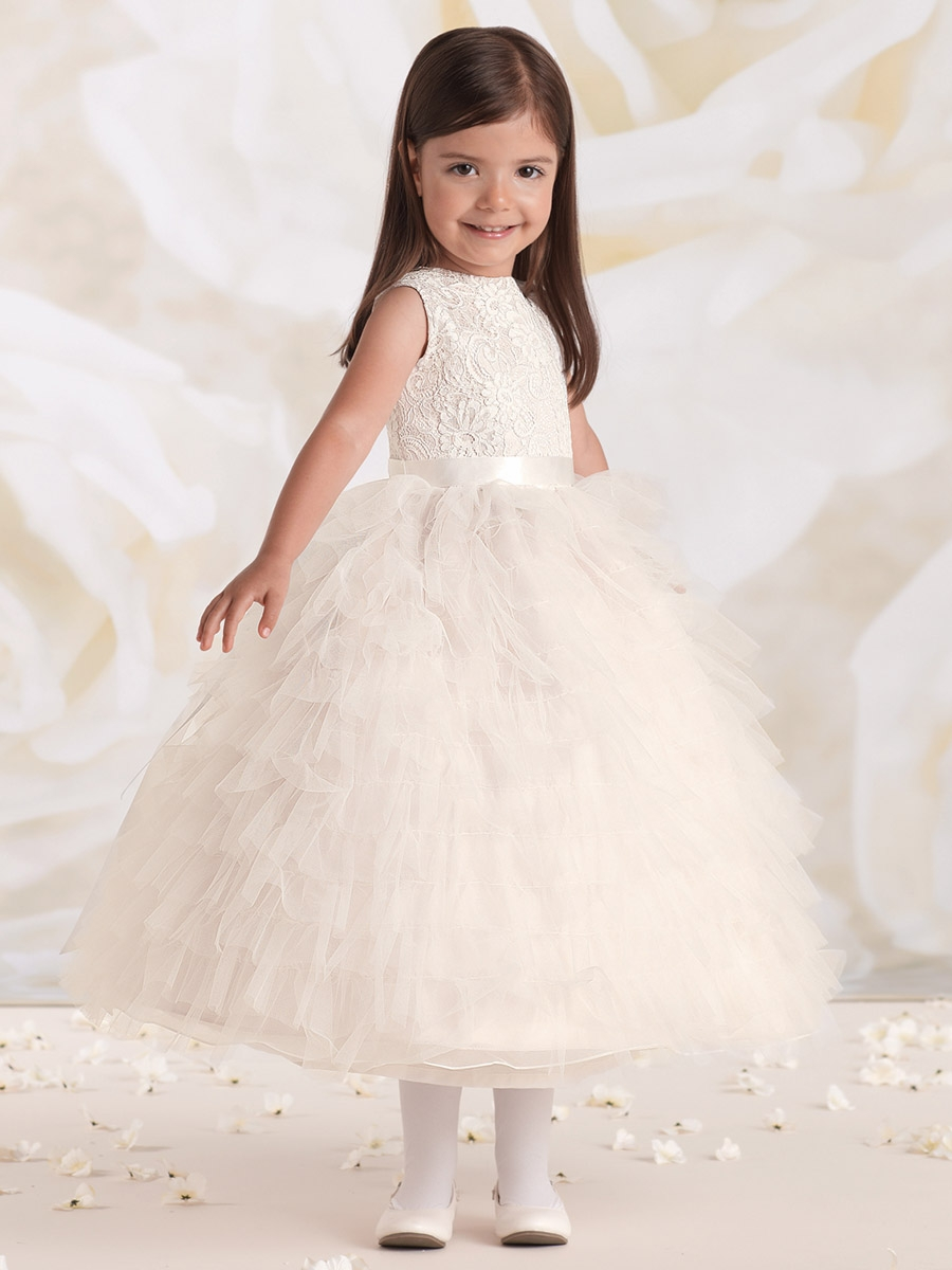 be90adb7a Joan Calabrese Ivory/ Petal Satin & Tulle Ruffled Layered Dress w ...