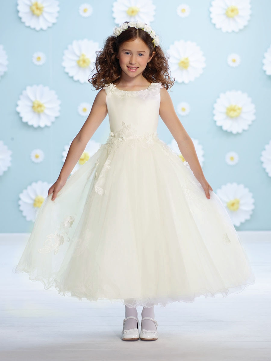 e946ef0aa74 ... Joan Calabrese Ivory Satin Floral Strap Flower Girl Dress. Click to  Enlarge