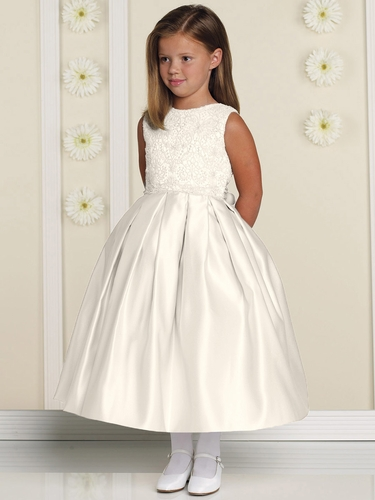 Joan Calabrese Ivory Sleeveless Embroidered Lace Overlay Bodice w/ Full Box Pleated Skirt
