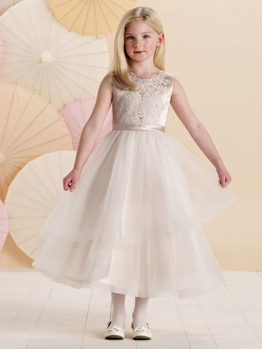 Joan Calabrese Rum Pink & Ivory Sleeveless Satin & Tulle Dress w/ Embroidered Lace Bodice