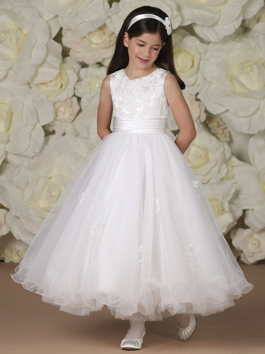 Joan Calabrese Satin, Tulle, & Lace A-Line Dress