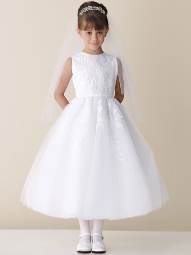 Joan Calabrese White Lace Appliqué Tulle Communion Dress