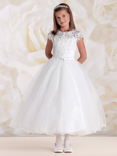 Joan Calabrese White Lace Bodice w/ Tulle & Sequin Skirt