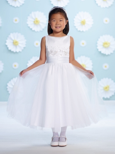 Joan Calabrese White Satin Bateau Neck Flower Girl Dress