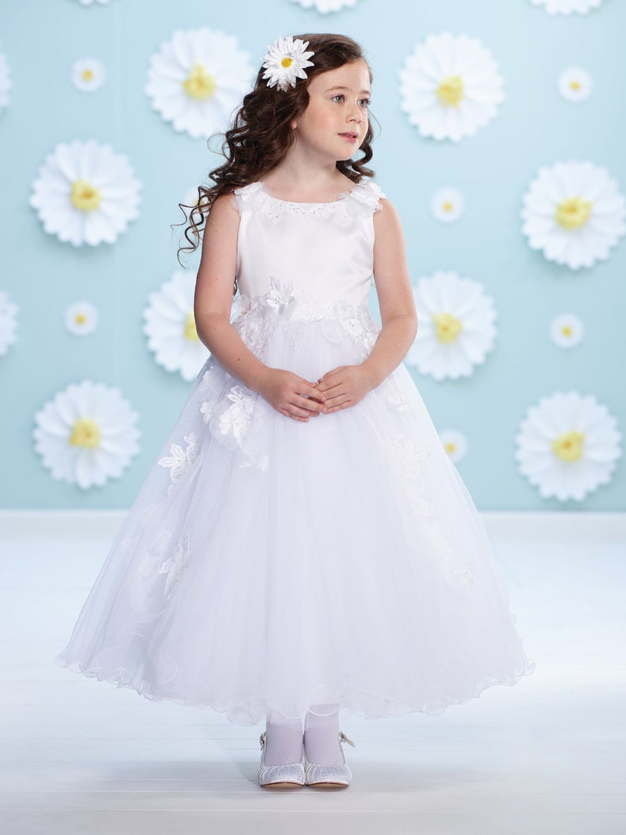 Joan Calabrese White Satin Floral Strap Flower Girl Dress