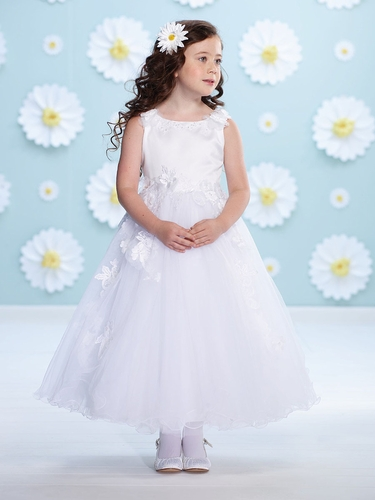 Joan calabrese white satin floral strap flower girl dress mightylinksfo