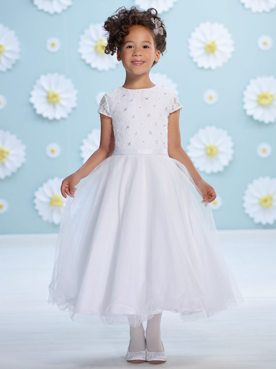 Joan Calabrese White Satin Lace Sleeve Flower Girl Dress