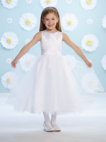 Joan Calabrese White Satin Natural Waist Flower Girl Dress