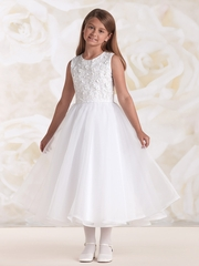 Joan Calabrese White Satin & Organza Floral Bodice Dress