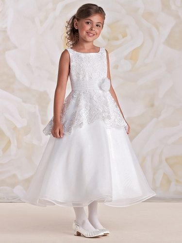 Joan Calabrese White Satin Organza Tulle Dress w/ Shimmering Floral Lace