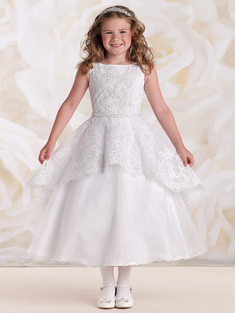 Joan Calabrese White Satin Tulle   Lace Peplum Effect Dress 0bf004e8920