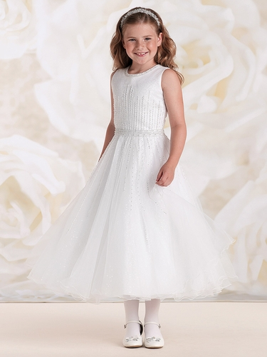 Joan Calabrese White Satin & Tulle Sequin A-Line Dress