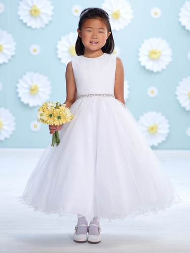 Joan Calabrese White Tulle Belted Flower Girl Dress