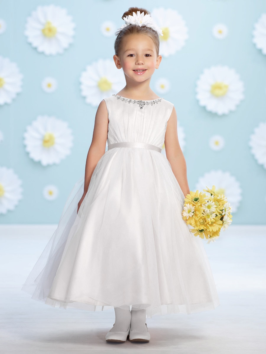 Joan Calabrese White Tulle Ruched Bodice Flower Girl Dress