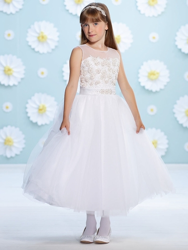 Joan Calabrese White Tulle Sweetheart Bodice Flower Girl Dress
