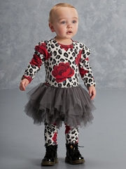 Kate Mack 2 Kool 4 School Gray Leopard Knit Red Rose Tulle Dress