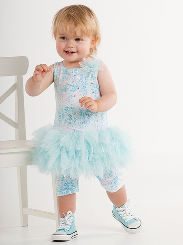 Kate Mack Baby Girls Aqua Flitter Flutter Tunic & Legging