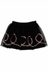 Kate Mack Black Rumba Roses Skirt