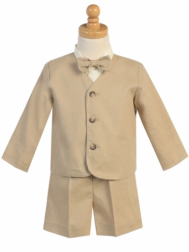 Khaki Linen Eton & Shorts Set