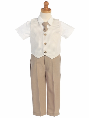 Khaki Seersucker Vest & Pants Set