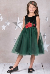 Kid's Dream 396 Green Velvet Rose Patch Dress