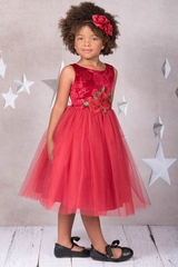 Kid's Dream 396 Red Velvet Rose Patch Dress