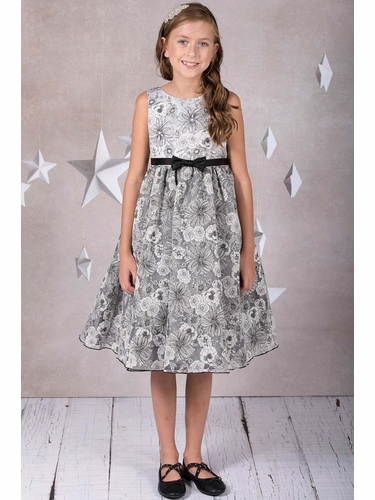 Kid's Dream 398 Black Floral Organza Dress