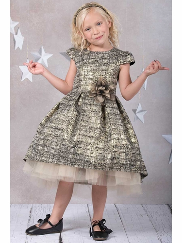 Kid's Dream 400 Gold Metallic Jacquard Dress