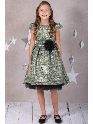Kid's Dream 400 Green Metallic Jacquard Dress