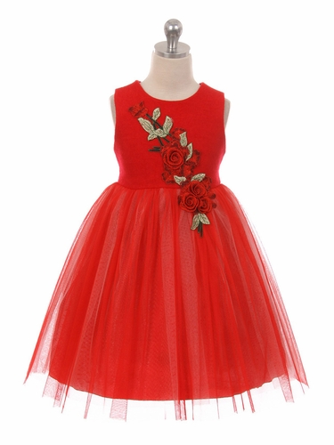 Kid's Dream C201 Red Wool Top Rose Patch Dress