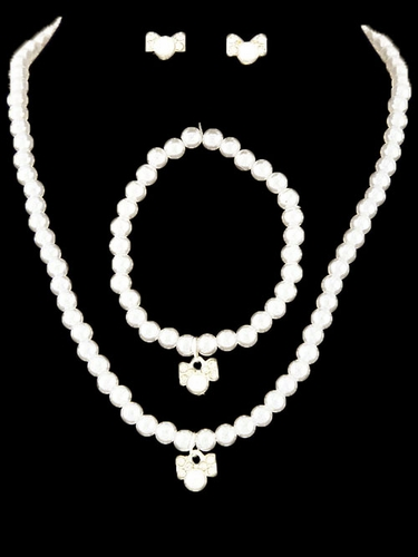 Kid's Ivory Bow Necklace Pearl Set
