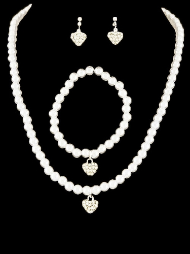 Kid's Ivory Heart Necklace Pearl Set